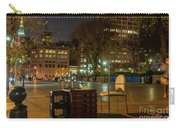 View Of Chess Board In The Middle Of Busy Sidewalk At Night Carry-all Pouch