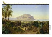 View Of Palermo With Mount Pellegrino Carry-all Pouch by August Wilhelm Julius Ahlborn
