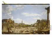 View Of The Roman Forum Carry-all Pouch by Giovanni Paolo Panini