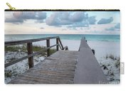View Of White Sand And Blue Ocean From Wooden Boardwalk Carry-all Pouch