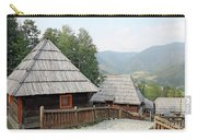 Village With Wooden Cabin Log On Mountain Carry-all Pouch