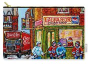 Vintage Candy Store Classic Coca Cola Truck Winter Scene Hockey Art Canadian Art Carole Spandau      Carry-all Pouch