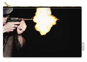 Vintage Gangster Man Shooting Gun On Black Carry-all Pouch