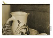 Vintage Grooming Set And Stoneware Water Pitcher In Sepia Tones Carry-all Pouch