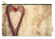 Vintage Handmade Plush Heart Pillow On The Soft Blanket Carry-all Pouch