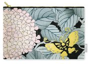 Vintage Japanese Illustration Of A Hydrangea Blossoms And Butterflies Carry-all Pouch