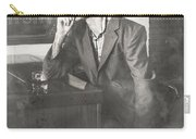 Vintage Man In Hat Smoking Cigarette In Jazz Club Carry-all Pouch