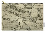 Vintage Map Of Italy And Greece - 1587 Carry-all Pouch