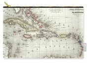 Vintage Map Of The Caribbean - 1852 Carry-all Pouch
