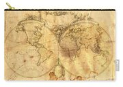 Vintage Map Of The World Carry-all Pouch by Michal Boubin