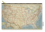 Vintage Map Of United States, 1883 Carry-all Pouch