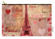 Vintage Paris And Roses Carry-all Pouch