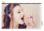 Vintage Pin Up Girl Eating Strawberry Cupcake Carry-all Pouch