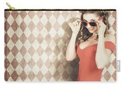 Vintage Pinup Fashion Model In Womens Sunglasses Carry-all Pouch