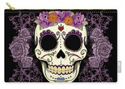 Vintage Sugar Skull And Roses Carry-all Pouch by Tammy Wetzel