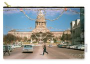 Vintage View Of The Texas State Capitol And Christmas Decorations Strung Along Congress Avenue From December 1960 Carry-all Pouch