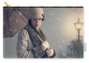 Vintage Woman With Coat Hat And Umbrella Outside In Snow Carry-all Pouch