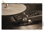 Vinyl Record Playing On A Turntable In Sepia Carry-all Pouch
