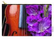 Violin And Purple Glads Carry-all Pouch