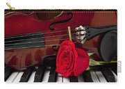 Violin And Rose On Piano Carry-all Pouch