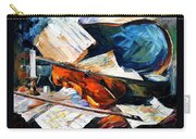 Violin - Palette Knife Oil Painting On Canvas By Leonid Afremov Carry-all Pouch