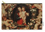 Virgin With A Garland Of Flowers Carry-all Pouch
