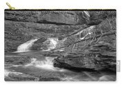 Virginia Falls Glacier Cascades - Black And White Carry-all Pouch
