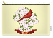Virginia State Bird Cardinal And Flowering Dogwood Carry-all Pouch by Crista Forest