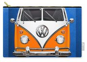 Volkswagen Type - Orange And White Volkswagen T 1 Samba Bus Over Blue Canvas Carry-all Pouch by Serge Averbukh