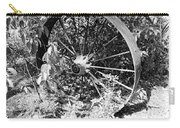 Wagon Wheel In B W Carry-all Pouch
