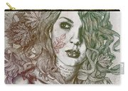 Wake - Autumn - Street Art Woman With Maple Leaves Tattoo Carry-all Pouch