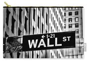 Wall St Sign New York In Black And White Carry-all Pouch