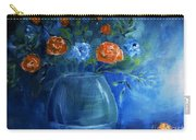 Warm Blue Floral Embrace Painting Carry-all Pouch