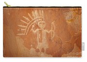 Native American Warrior Petroglyph On Orange Sandstone Carry-all Pouch