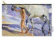 Washing The Horse Carry-all Pouch by Joaquin Sorolla y Bastida