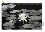 Water Lilies In Black And White Carry-all Pouch