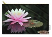 water lily 92 Sunny Pink Water Lily with Lily Pad Carry-all Pouch