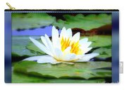 Water Lily With Blue Border - Digital Painting Carry-all Pouch