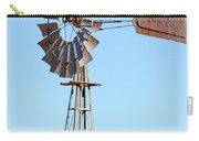 Water Pump Windmill On Blue Sky Background Carry-all Pouch
