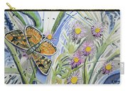 Watercolor - Checkerspot Butterfly With Wildflowers Carry-all Pouch by Cascade Colors