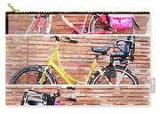 Watercolor Collage Of Three Bicycles In Triptych Carry-all Pouch