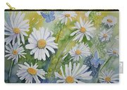 Watercolor - Daisies And Common Blue Butterflies Carry-all Pouch