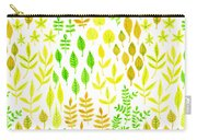 Watercolor Doodle Leaves Pattern White  Carry-all Pouch