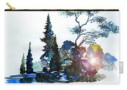 Watercolor Forest And Pond Carry-all Pouch