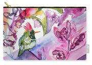 Watercolor - Frilled Coquette Hummingbird With Colorful Background Carry-all Pouch