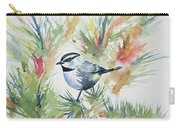 Watercolor - Mountain Chickadee And Pine Carry-all Pouch