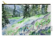 Watercolor - Mountain Pines And Indian Paintbrush Carry-all Pouch