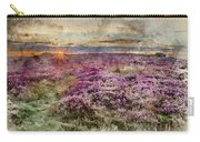 Watercolor Painting Of Beautiful Dawn Sunrise Landscape Image Of Heather On Higger Tor In Summer In  Carry-all Pouch