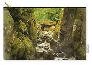 Watercolor Painting Of Beautiful Ethereal Landscape Of Deep Sided Gorge With Rock Walls And Stream F Carry-all Pouch
