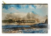 Watercolor Painting Of Fresh Winter Landscape Of Mountain Range And Forest Covered In Snow Carry-all Pouch